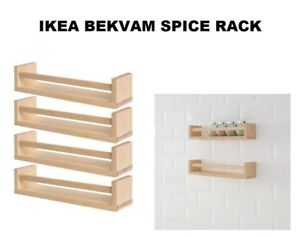 IKEA BEKVAM 4 X WOODEN SPICE JAR RACKS MUTI USE BOOK SHELF, KITCHEN ...