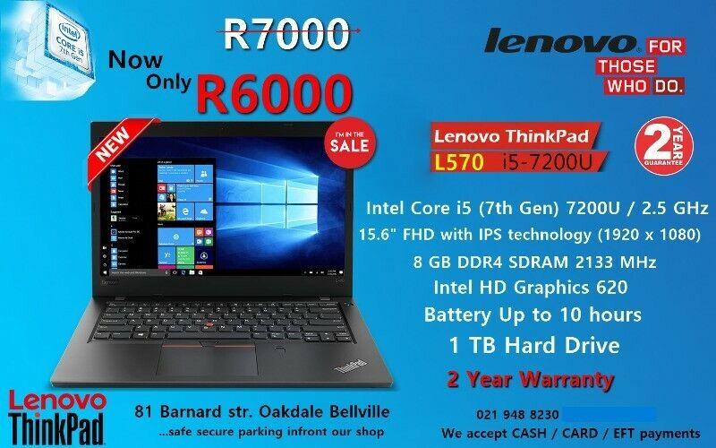 New Lenovo ThinkPad L570 - 7th gen Core i5 – 8GB DDR4 – 15.6'' Full HD – 2 Year Warranty - Sale.