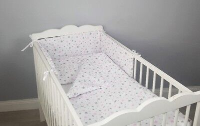 3 4 pcs pc navy stripes COTTON padded bumper pillowcase COT BED BEDDING SET 2
