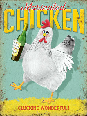 Marinated Chicken Vino Wine Bottle Drunk Humourous Medium Metal//Steel Wall Sign