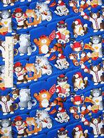Timeless Treasures Fabric Sports Fans Cats Blue Baseball Jersey Hat Popcorn Yd