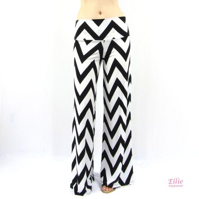 Women's White/Black Chevron Zigzag Wide Leg Pants (S M L XL 2XL 3XL)