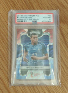 2018-Panini-Prizm-World-Cup-80-KYLIAN-MBAPPE-RC-Red-Blue-Wave-Prizm-PSA-10