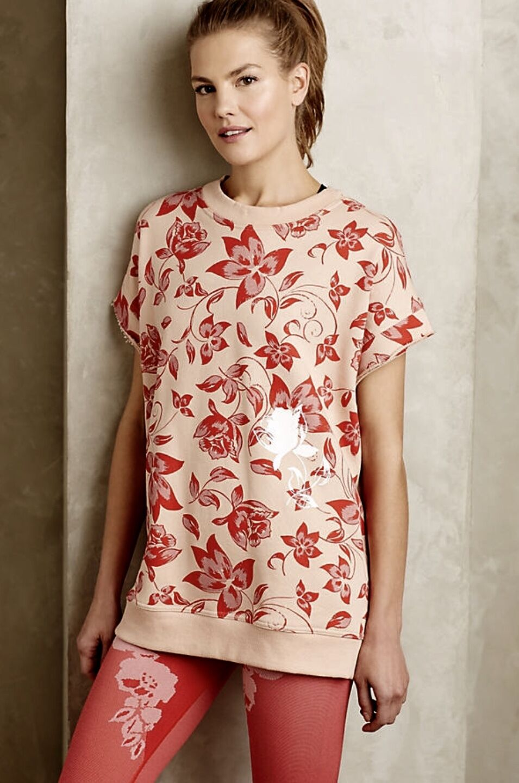NEW Stella McCartney peach Orange Floral Purchased at Anthropologie Sweatshirt S