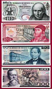 MEXICO-UNC-Notes-10-Ps-039-77-P63-20-Ps-039-77-P63-50-Ps-039-81-P73-amp-100-Ps-P-74