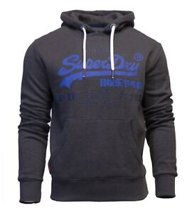 Superdry-New-Mens-Overhead-Hoodie-Long-Sleeve-Sweatshirt-Shop-Duo-Charcoal-Grey