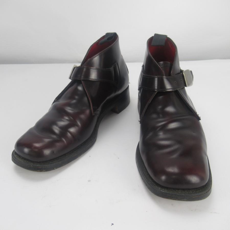 Zapatos de cuero Jeffery West Ox sangre para hombres real con cierre de hebilla-Talla UK 8