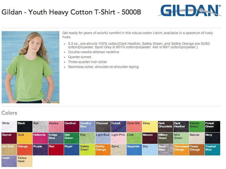 50 Blank Gildan Youth Heavy Cotton T-Shirt Bulk Lot ok to mix XS-XL colors Kids