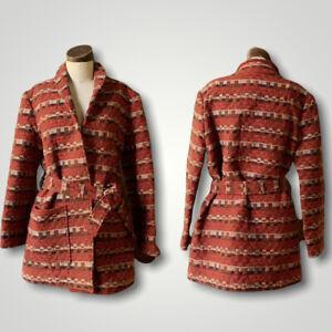 VINTAGE Tapestry Vintage Couture MOD 1960s Belted Jacket Coat M/L