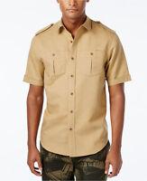Sean John Linen-blend Khaki Short Sleeved Military Style Shirt Xl