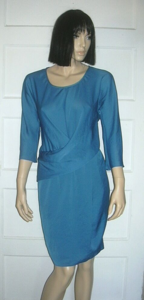 NEW CARVEN TEAL  COUTURE DRAPED  DRESS Sz US 6
