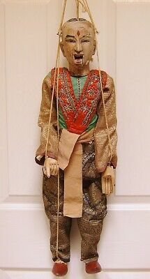 "Vintage & Antique Toys Earnest C1780 Antique Lg 37"" Marionette Thailand Siam Hand Carved Wood Silk Gold Fabric"