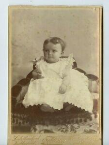 Vintage Cabinet Card Cute little Baby White Dress Eddison Photo Barnsley