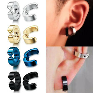 7b9c40a037646 Details about 1 Pair Non-Piercing Clip Mens Boy Ear Stud Cuff Hoop Earrings  Stainless Steel