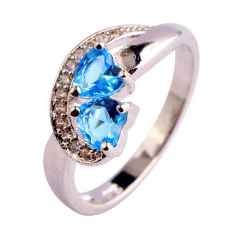 Double Heart Cut Rainbow Blue Topaz Jewelry Gemstone Silver Ring Size 6 7 8 9