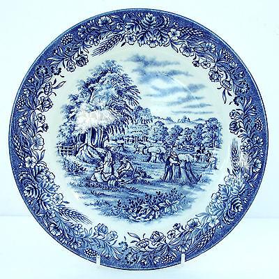 Vintage Churchill Currier & Ives Blue Dinner Plate