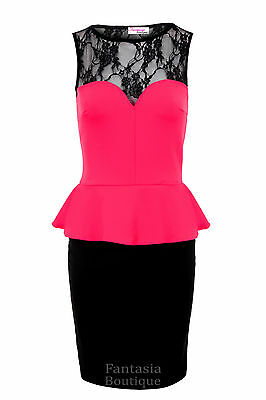 Ladies Black Lace Sweetheart Peplum Sexy Party Women's Short Dress 8 10 12 14 16