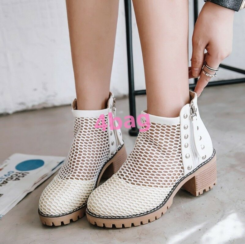 Womens Chunky Heel Hollow Out Side Zip Ankle Boots Mesh Sexy Rivet Studded shoes