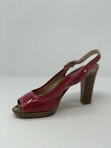 COACH-Hollie-Patent-Leather-Slingback-Pump-Heels-Pink-Punch-Sz-9