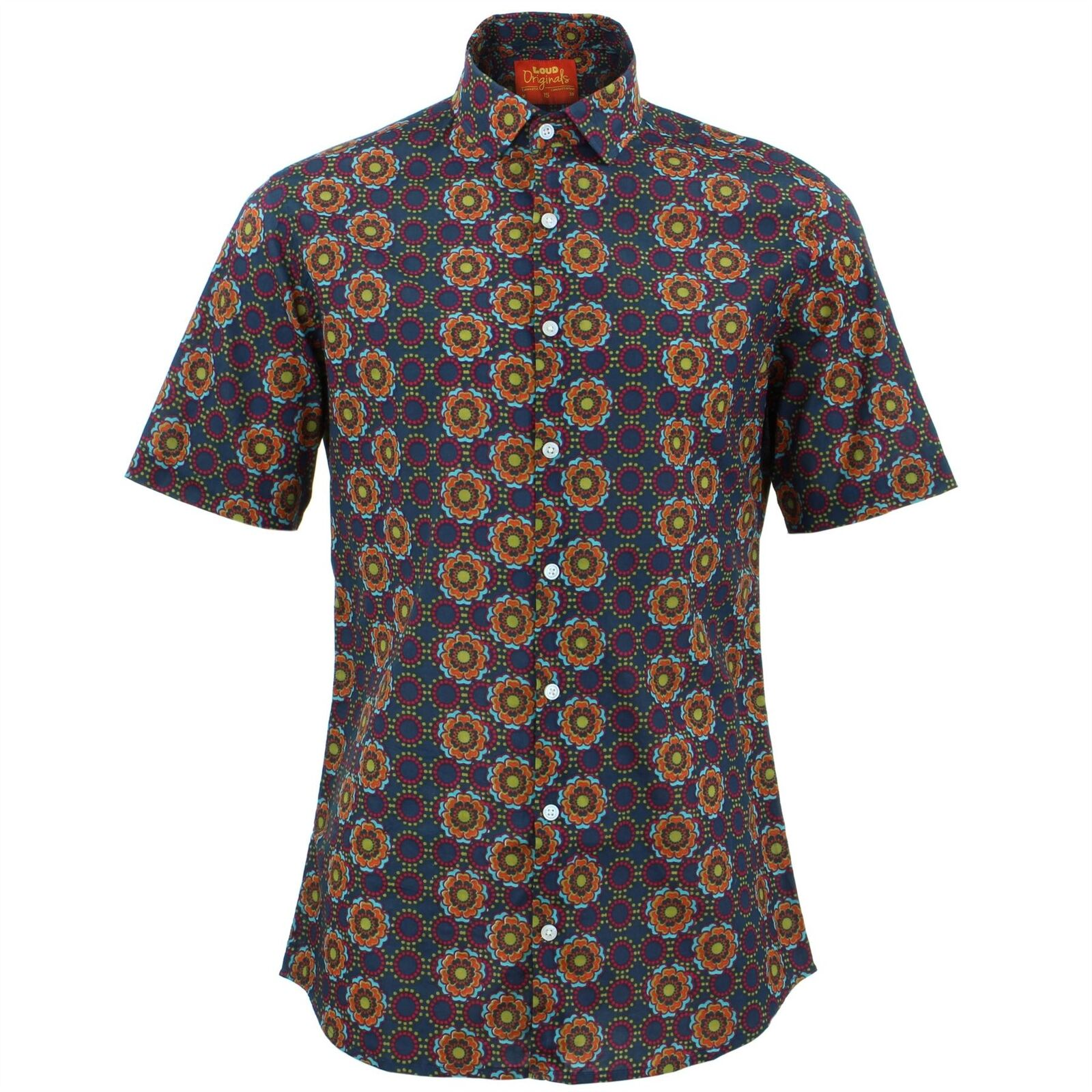 Mens Shirt Loud Originals TAILORED FIT Poppy bluee Retro Psychedelic Fancy