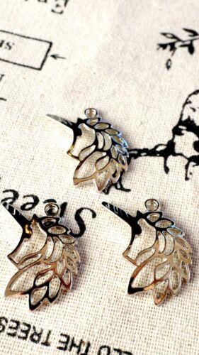 Cabeza de unicornio 2 Plata Encantos Jewellery Supplies