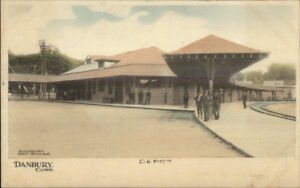 Danbury-CT-RR-Train-Station-Depot-c1910-Postcard