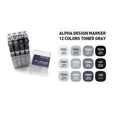 Graphic Art Marker Alpha Design Marker Twin Tip 12 Color Toner Gray illustration