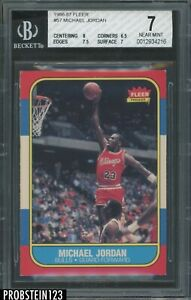 1986-87 Fleer Basketball #57 Michael Jordan RC Rookie HOF BGS 7 w/ 8 Centering