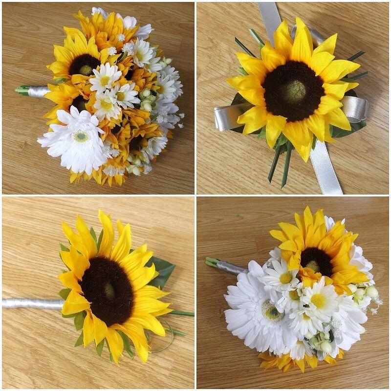 Sunflower & Daisy Wedding Flowers - Brides Bouquet - Bridesmaid - Buttonhole