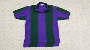 Vtg-Champion-Men-039-s-Purple-Green-90s-Colorblock-Striped-Thrashed-Polo-Shirt-Sz-L