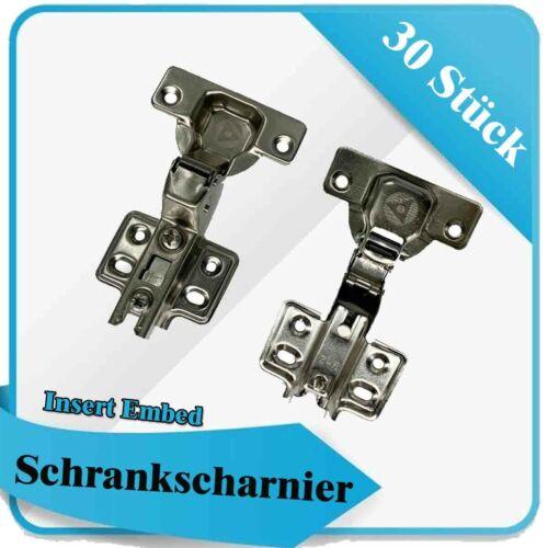 30 Stück Set Möbel Scharnier Kleiderschrank 110° Grad Edelstahl für Schränke