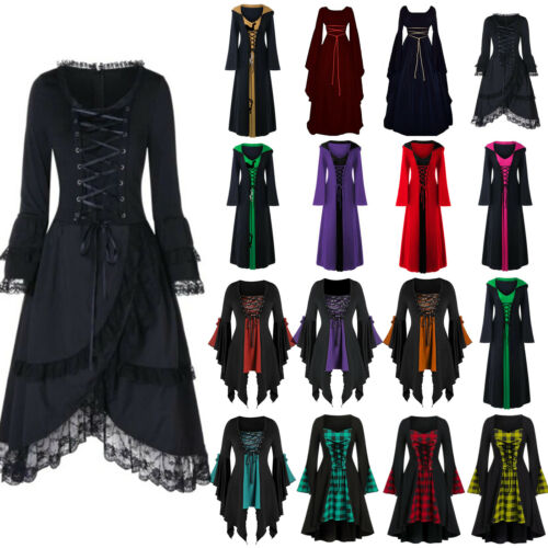 Halloween Women/'s Renaissance Medieval Gothic Witch Costume Fancy Dress