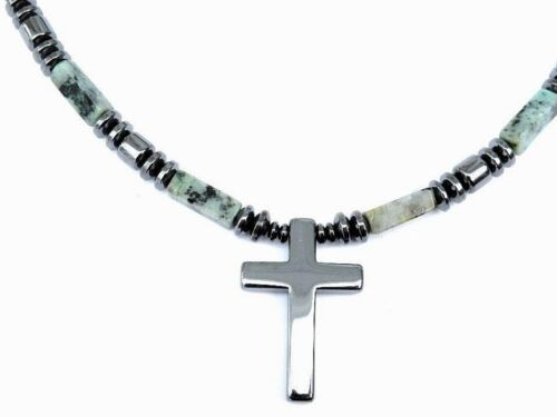 Magnetic AFRICAN TURQUOISE CROSS Pendant Men/'s or Women/'s Healing Necklace