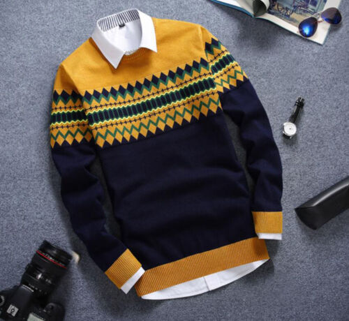 Mens Slim Fit Students Stripe Casual Sweater Round Collar Coat Stylish Party New