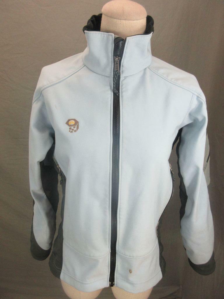Mountain Hardwear Size 8 Womens Blue Full Zip Fleece Lined Softshell Jacket T695