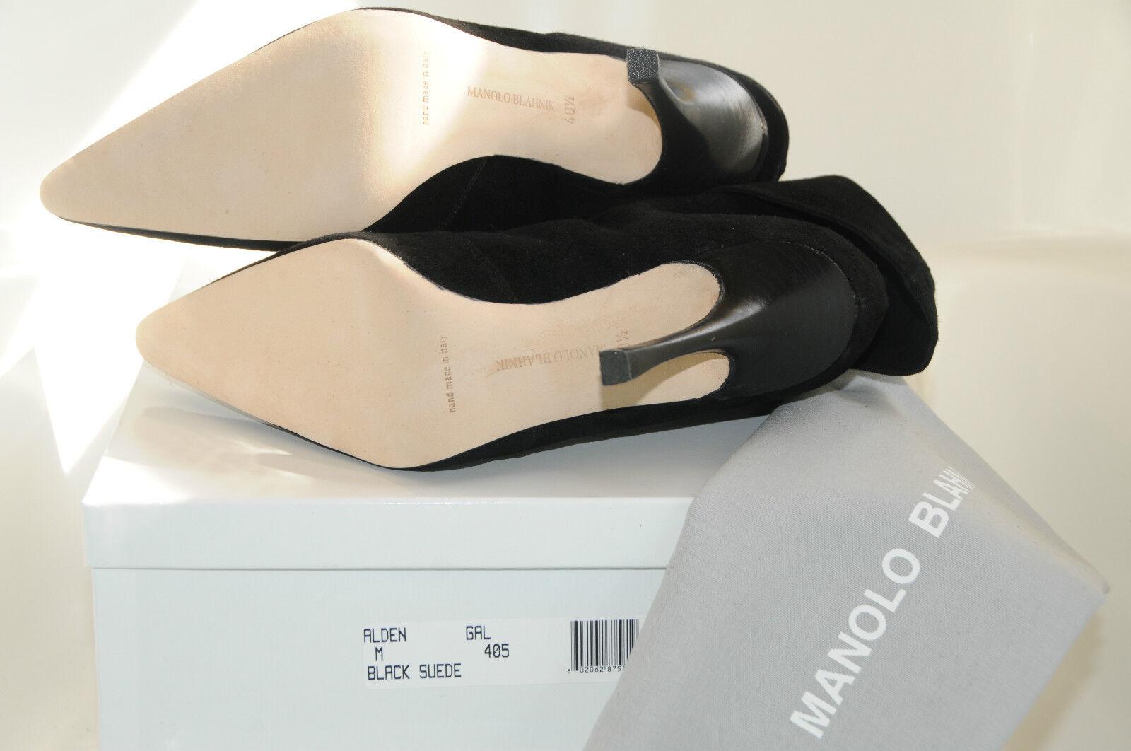 1345 NEW MANOLO BLAHNIK ALDEN SUEDE ANKLE BOOTS SHOES Black 40.5 10.5 10