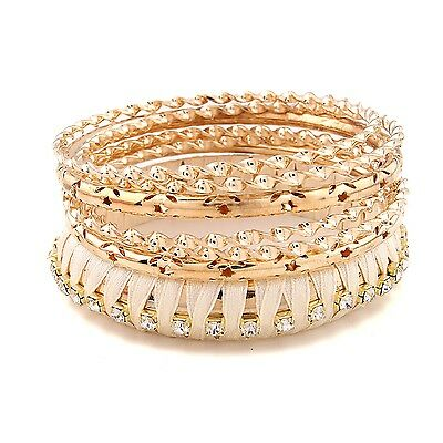 1Set  Fashion Women Multilayer Ribbon Beautiful Crystal Beads Bracelet Bangle