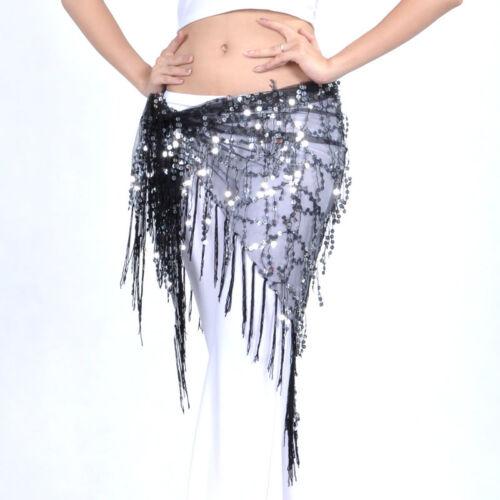 Belly Dance Hip Skirt Scarf Wrap Gem Waist Belt Beads Sequin Hula Tassles Scarf