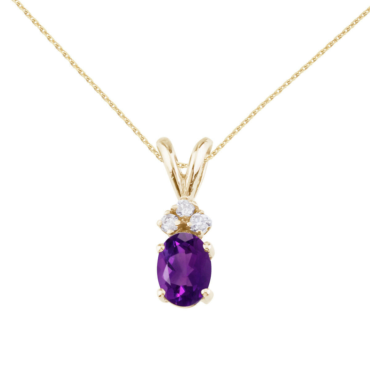 14K Yellow gold 7x5 mm Oval Amethyst and Diamond and 18  Chain