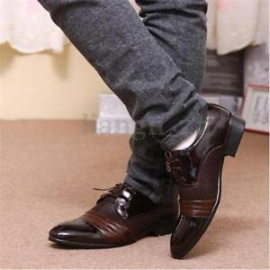 AU-Men-s-Formal-Leather-Oxfords-Pointed-Toe-Breathable-Shoes-Casual-Dress-Shoes