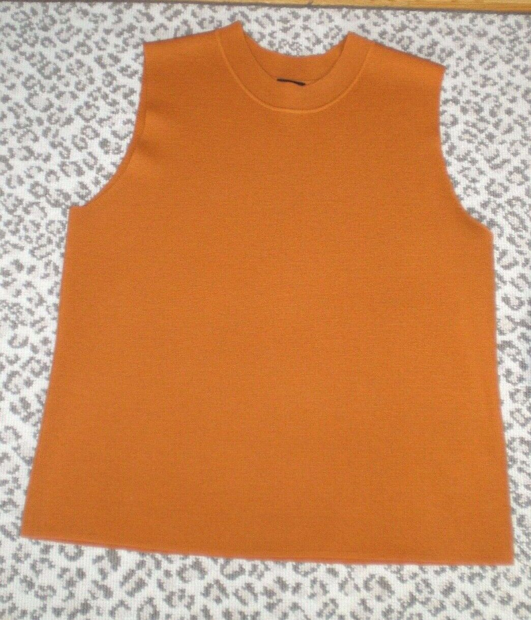 Eileen Fisher Spice Orange 100%Wool Mock Neck Sleeveless Top Sweater  L