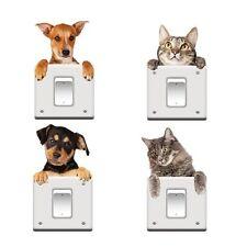 Vinyl Cartoon Wall Mural Home Decor Switch Sticker Cat Dog Decal