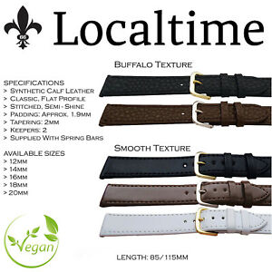 SUPER-OFFER-Vegan-Watch-Strap-Smooth-or-Buffalo-Synthetic-Calf-Leather-12-20mm