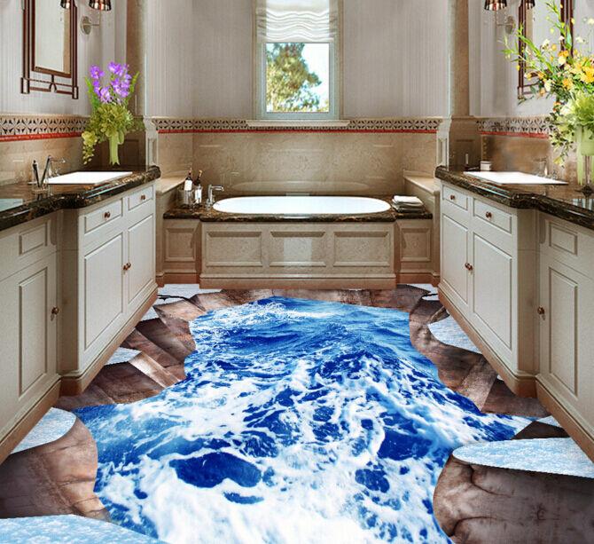 3D Bleu 7 Mer 7 Bleu Fond d'écran étage Peint en Autocollant Murale Plafond Chambre Art 2b6b36