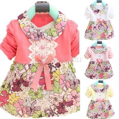 Toddler Baby Girls Floral Princess Dress Bowknot One Piece Kids Dress Skirt 0-2Y