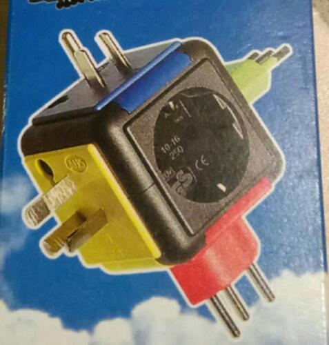 AS Schwabe 90110 Reise-Stecker-Adapter mit Schutzkontaktsteckdose NEU,OVP