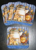 Set Of 4 Prim Wake Up Coffee Coasters Design By Diane Knott Made In Usa Hg