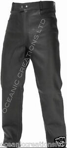 MENS BLACK LEATHER MOTORCYCLE MOTORBIKE JEANS TROUSERS