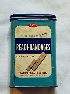 Vintage-BAY-039-S-Plastic-Readi-Bandages-TIN-Parke-Davis-Co-DETROIT-MICHIGAN-USA