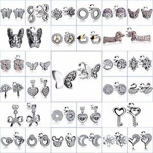 Brand-Sterling-925-Silver-Ear-Stud-Dangle-Earrings-Women-CZ-Fine-Jewelry-Gifts